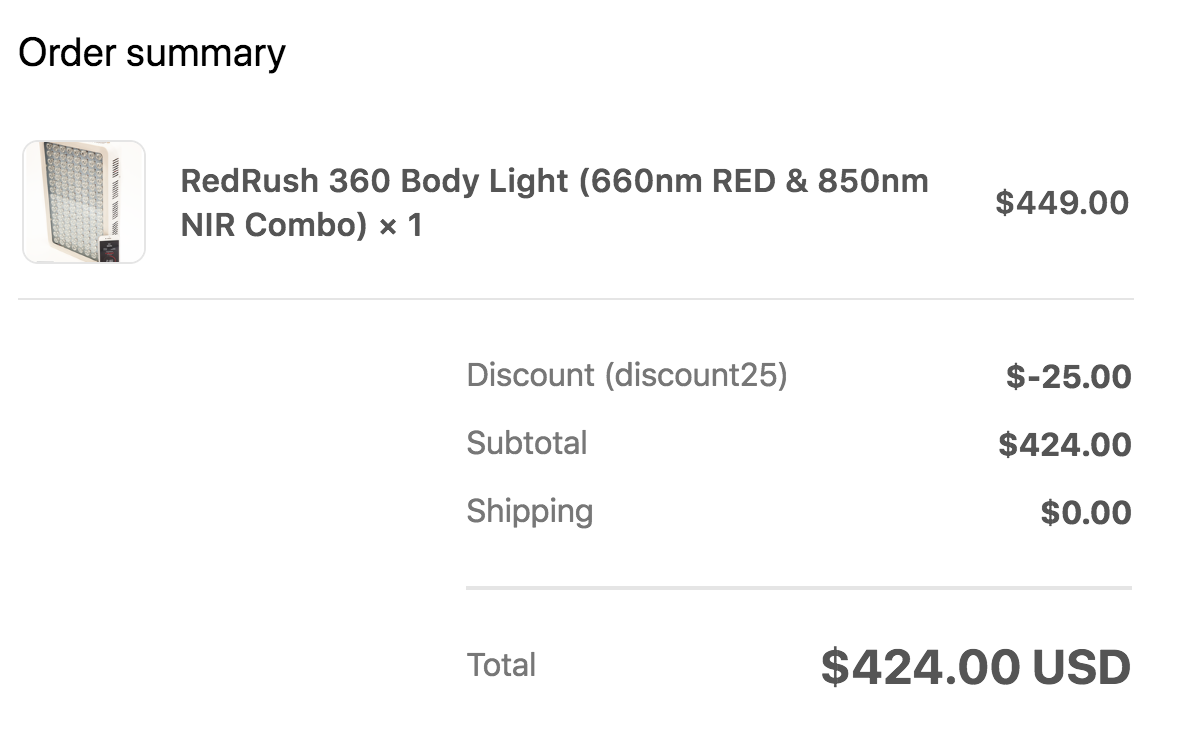 RedRush 360 Body Light Order With Discount Code Applied